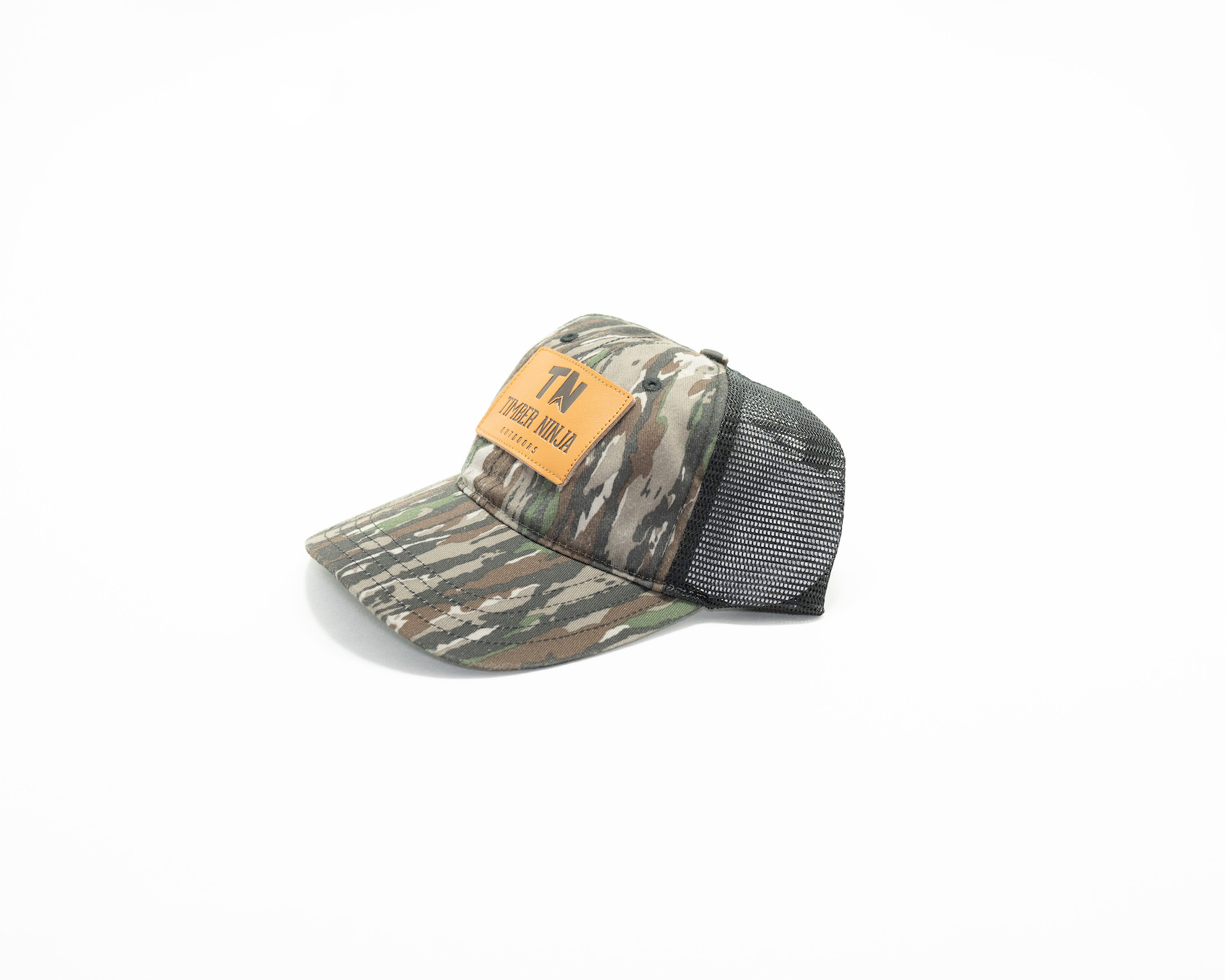 Unstructured Leather patch Camo Hat
